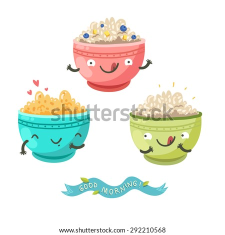 cute porridge characters and