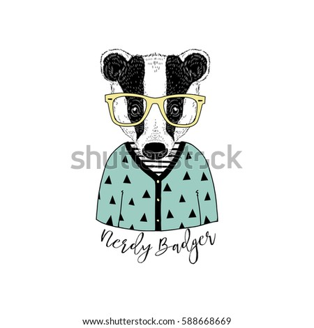 cute portrait of nerdy badger