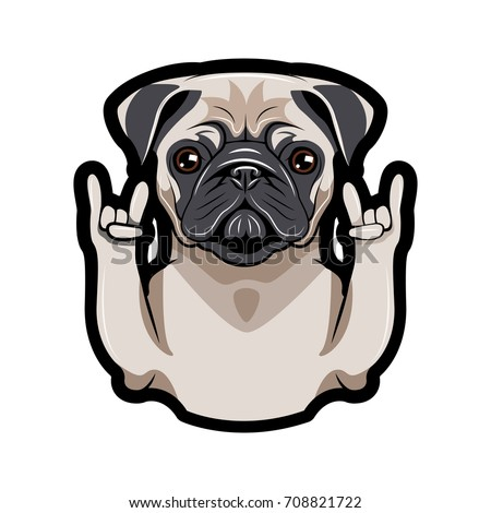 Cute portrait of Pug dog. Sign of the horns. Vector illustration isolated on white background