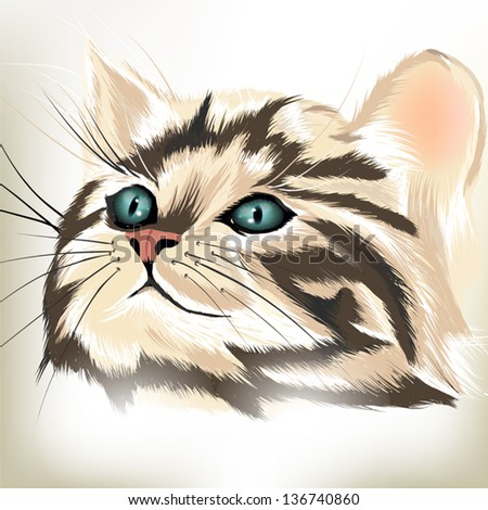 cute portrait of vector cat on