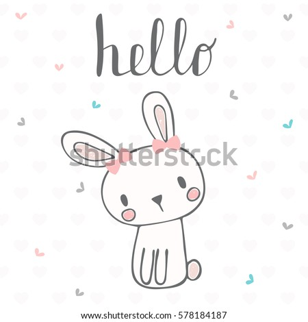 cute postcard with funny rabbit