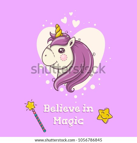 Cute postcard with magical head of unicorn on purple background with hearts. #1056786845
