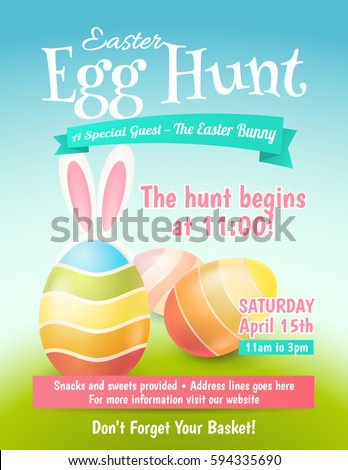 Shutterstock Cute poster for Easter Egg Hunt  with colored eggs and ears of a rabbit. Vector template for banners, flyers and invitation cards