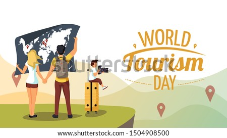 "Cute poster for ""World Tourism Day"". Couple with world map and boy with camera sitting on the suitcase. Vector illustration for banner, poster, postcard, cover."