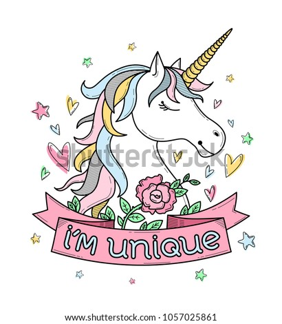 Cute poster, greeting card or apparel print with unicorn, flowers, hearts and stars. Lettering 'I'm unique
