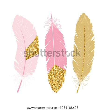 Cute poster with pink and gold glitter feathers. Vector hand drawn illustration.