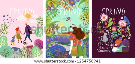 cute posters of spring time, vector drawn illustrations of a happy family in nature, girls against a landscape and a family with a pet cat surrounded by floral patterns