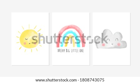 Cute posters with cloud, rainbow and sun vector prints for baby room, baby shower, greeting card, kids and baby t-shirts and wear. Hand drawn nursery