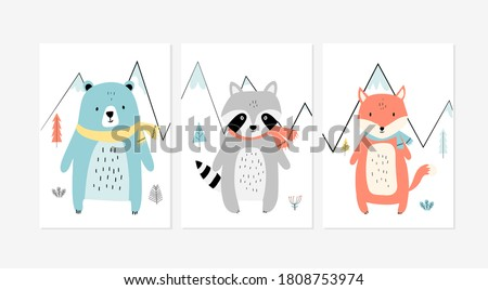 Cute posters with little fox, raccoon, and bear vector prints for baby room, baby shower, greeting card, kids and baby t-shirts and wear. Hand drawn nursery