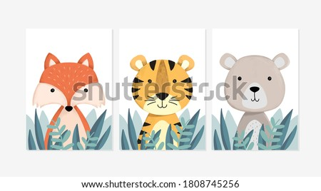 Cute posters with little fox, tiger, and bear vector prints for baby room, baby shower, greeting card, kids and baby t-shirts and wear. Hand drawn nursery
