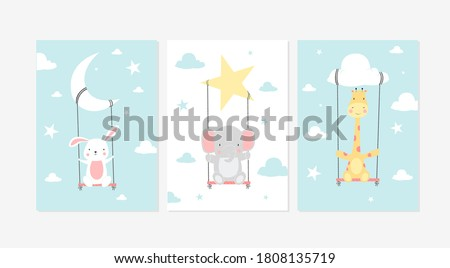 Cute posters with little rabbit, elephant and giraffe  vector prints for baby room, baby shower, greeting card, kids and baby t-shirts and wear. Hand drawn nursery