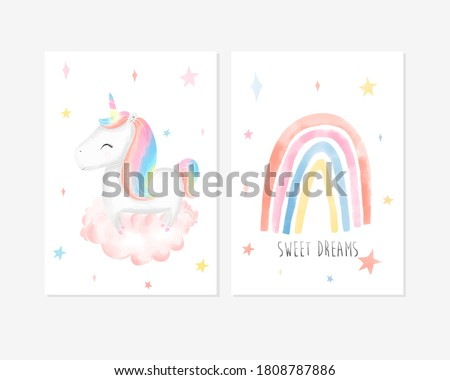 Cute posters with little unicorn, rainbow and slogan vector prints for baby room, baby shower, greeting card, kids and baby t-shirts and wear. Hand drawn nursery