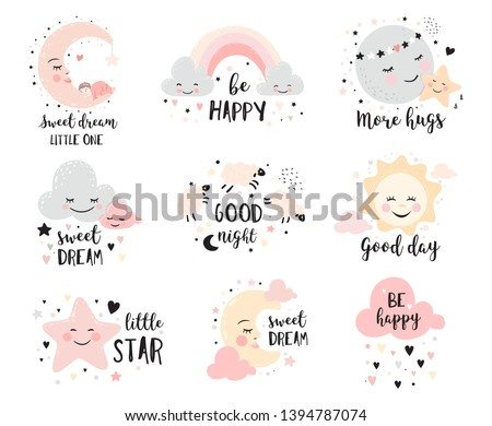 Cute posters with moon, stars, clouds. Vector prints for baby room, baby shower, greeting card, kids and baby t-shirts and wear. Hand drawn nursery illustration.
