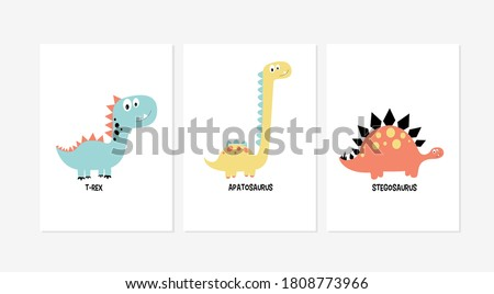 Cute posters with the little dinosaur vector prints for baby room, baby shower, greeting card, kids and baby t-shirts, and wear.
