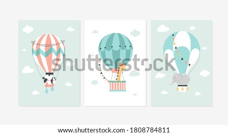 Cute posters with the sweet animals and balloons vector prints for baby room, baby shower, greeting card, kids and baby t-shirts, and wear.