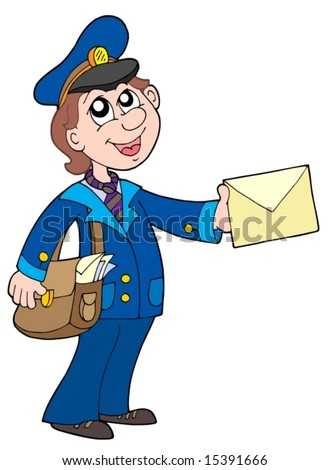 Cute postman with letter - vector illustration.
