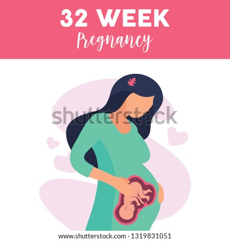cute pregnant girl and fetal