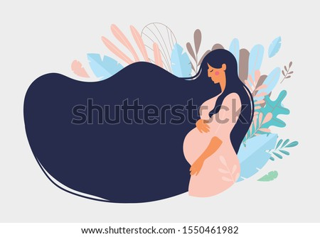 Cute pregnant woman with long hair on a background of blue leaves. The concept of pregnancy, motherhood, family. Flat design with copy space. Happy mum. Pregnant belly side view. Stock vector illustra