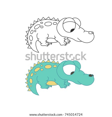 Cute pretty crocodile isolated. Outline colorful vector.