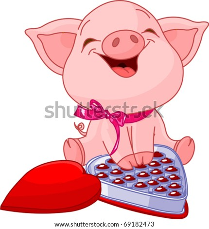 cute pretty pig at valentines
