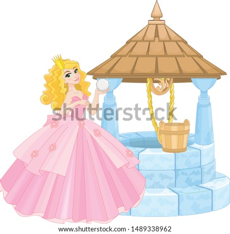 Cute Princess and Wishing Well