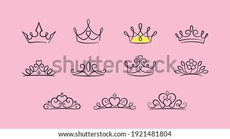 cute princess crown icon set