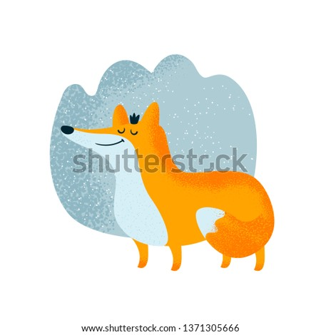 Cute princess fox in crown in forest. Cute animal character illustration. Scandinavian illustration. Flat Illustration for kids game, book, t-shirt, card, print, poster, decoration and textile.