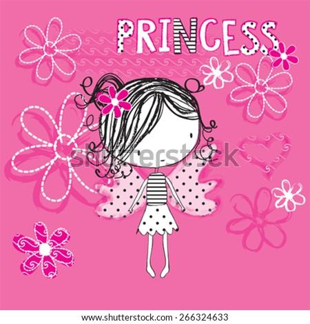 cute princess girl  butterfly