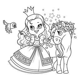Cute princess in lush dress with cure unicorn outlined for coloring book
