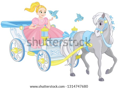 cute princess in royal carriage