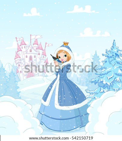 cute princess in the snow