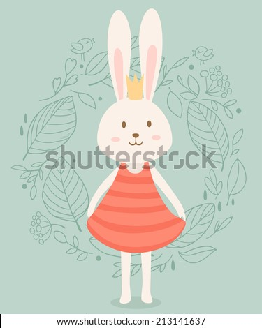 Cute princess rabbit in crown with floral frame. Vector illustration