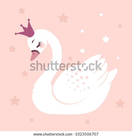cute princess swan on pink