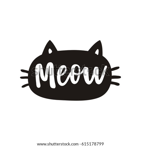 cute print with lettering meow