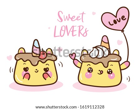 Cute pudding cup cake cartoon Animal lover vector, Nursery wall, Girly doodles. Bakery product cafe Valentines day invitation. Perfect for kid greeting card, baby shower, fabric design, Print t shirt.