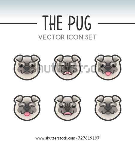 cute pug dog breed vector icon