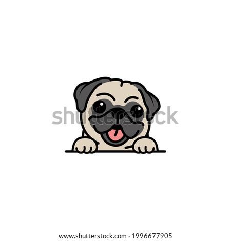 Cute pug dog cartoon, vector illustration Сток-фото ©