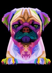 cute pug on geometric pop art style. Abstract rainbow .vector illustration.