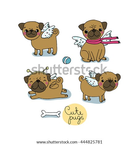 cute pugs dogs hand drawing