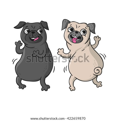 cute pugs vector hand drawn
