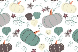 Cute pumpkins and leaves seamless vector pattern for fabric, textile, background, menu, wrapping paper or wallpaper. Vegetable autumn background.