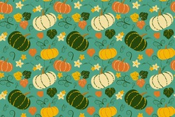 Cute pumpkins and leaves seamless vector pattern for fabric, wrapping paper or wallpaper. Vegetable autumn background.