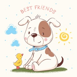 Cute puppy and duckling cartoon hand drawn vector illustration. Can be used for t-shirt print, kids wear fashion design, baby shower invitation card.