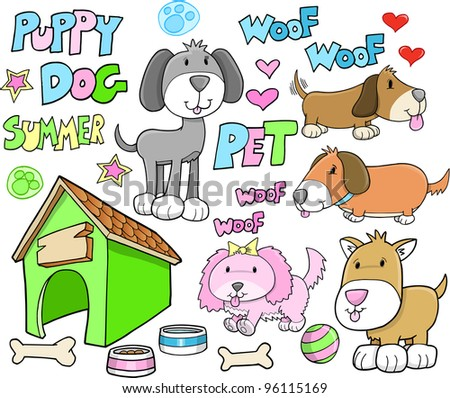 Cute Puppy Dog Animal Summer Pet Vector Illustration set