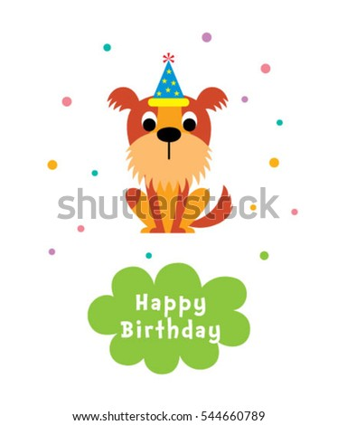 cute puppy happy birthday greeting card #544660789