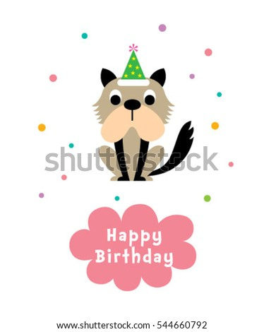 cute puppy happy birthday greeting card #544660792