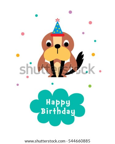 cute puppy happy birthday greeting card #544660885