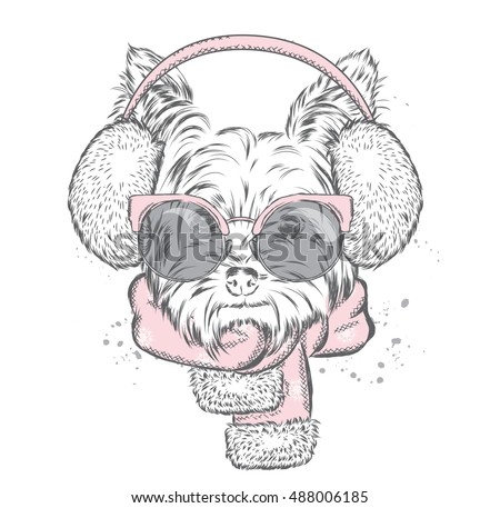 Cute puppy in earmuffs and a scarf. Vector illustration for a card or poster. Print on clothes. Beautiful dog. New Year's and Christmas. Winter. Warm clothes.