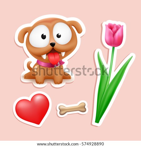 cute puppy in love  tulip