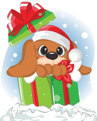 Cute puppy inside gift boxes. Illustration christmas card of lovely dog in box